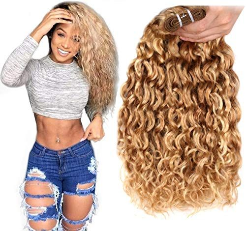 Enjoy exclusive for FASHION LINE Brazilian P27/613 Water Wave Blonde Human Hair Extensions Unprocessed Human Hair Bundles Weft 1PC 100g(14 online