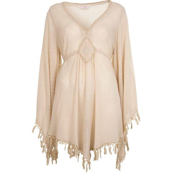 Cream Tassel Kaftan Top. (140 PLN) ❤ liked on Polyvore featuring tops, dresses, shirts, blouses, vestidos, women, kaftan shirt, miss selfridge, kaftan tops and viscose shirt