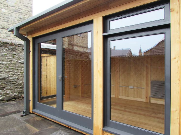 Timber Garden Room, Anthracite Grey Timber Windows and Doors Full Height Windows and Doors Wales