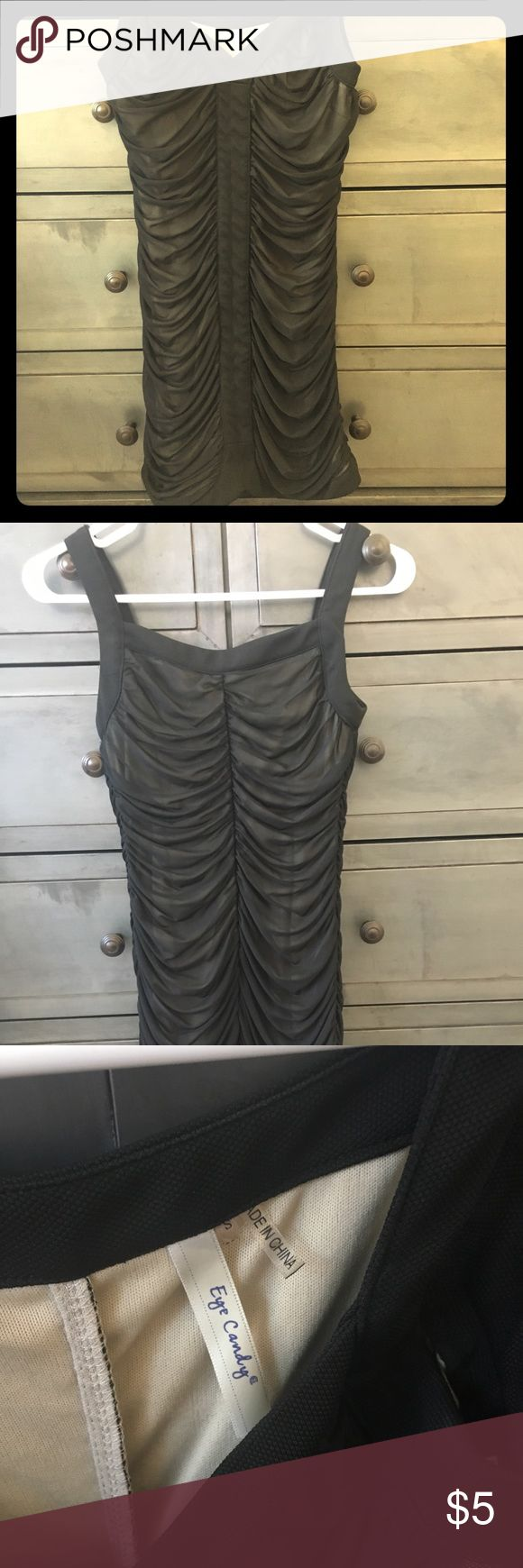 Classic little black dress-perfect for night out Nude dress with black sheer overlay - size small - worn only twice Forever 21 Dresses Mini