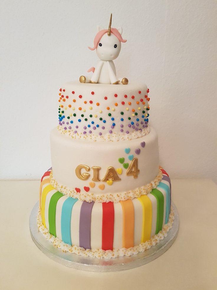 Rainbow unicorn birthdaycake / Regenboog eenhoorn verjaardagstaart