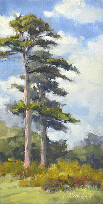 Tall Pines By Laurel Daniel Oil 16 X 8 Pine Tree