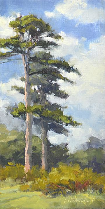 Tall Pines by Laurel Daniel Oil ~ 16 x 8