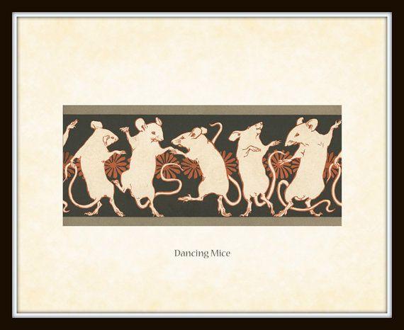 Art Nouveau Dancing Mice Art Print 8 x 10 Arts and Crafts Era Mission Style Bungalow Digital Collage