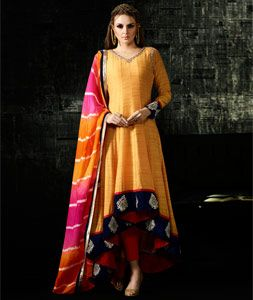 Buy Yellow Cotton Silk Designer Anarkali Suit 76989 online at lowest price from huge collection of salwar kameez at Indianclothstore.com.