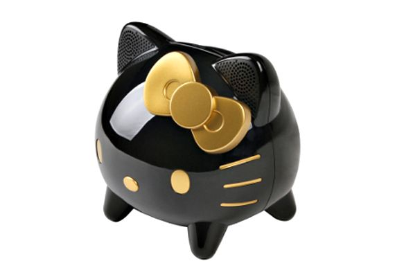 While usually pink, white and totally adorable, when it comes to this CAV Japan Hello Kitty Dock Speaker for iPhone and iPod, she got a chic makeover. The