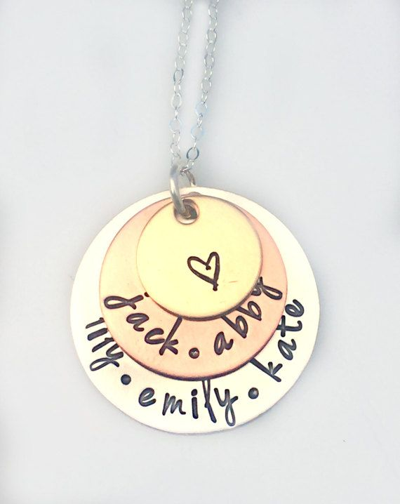 Layered Mixed Metal Name Necklace  Stamped by 3LittlePixiesShoppe