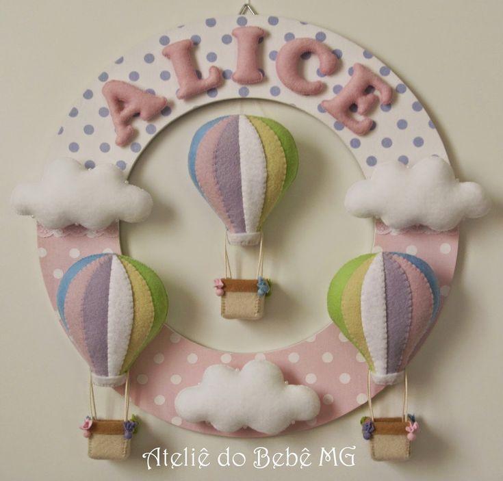 Ateliê do Bebê MG: Guirlanda Balões e Nuvens ( Alice )