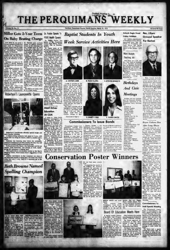 The Perquimans weekly. (Hertford, Perquimans Co., N.C.) 1934-current, March 16, 1972, Image 1, brought to you by University of North Carolina at Chapel Hill Library, Chapel Hill, NC, and the National Digital Newspaper Program.