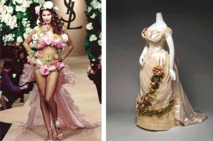 Letitia Casta in Wedding Dress by Yves Saint Laurent and Worth dress decorated  with roses