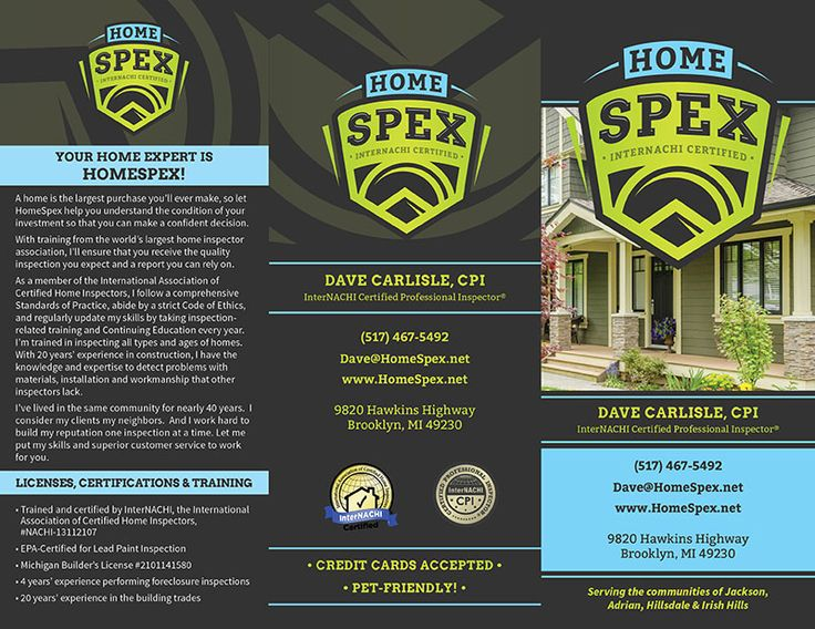 business card inspector Home Inspection Brochures \ FREE - home design credit card