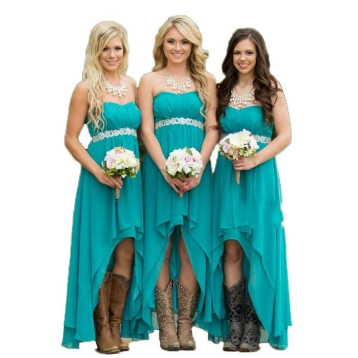 Cool Wallbridal Empire Waist High Low Country Rustic Out Door Wedding Bridesmaid Dress w