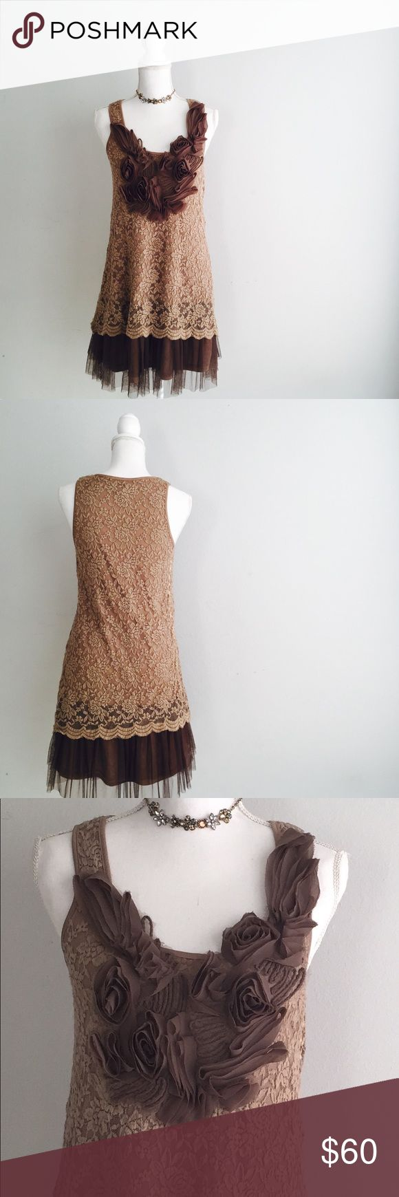 Ryu anthropologie tulle lace floral dress small Ryu previously sold at anthropologie and modcloth etc  brown/tan lace dress tulle hem and tulle flowers on the bust  so shabby cottage chic! Great pre loved condition  Size small Anthropologie Dresses