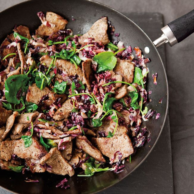 A hearty lunch salad with tri-tip, bitter radicchio and peppery watercress.
