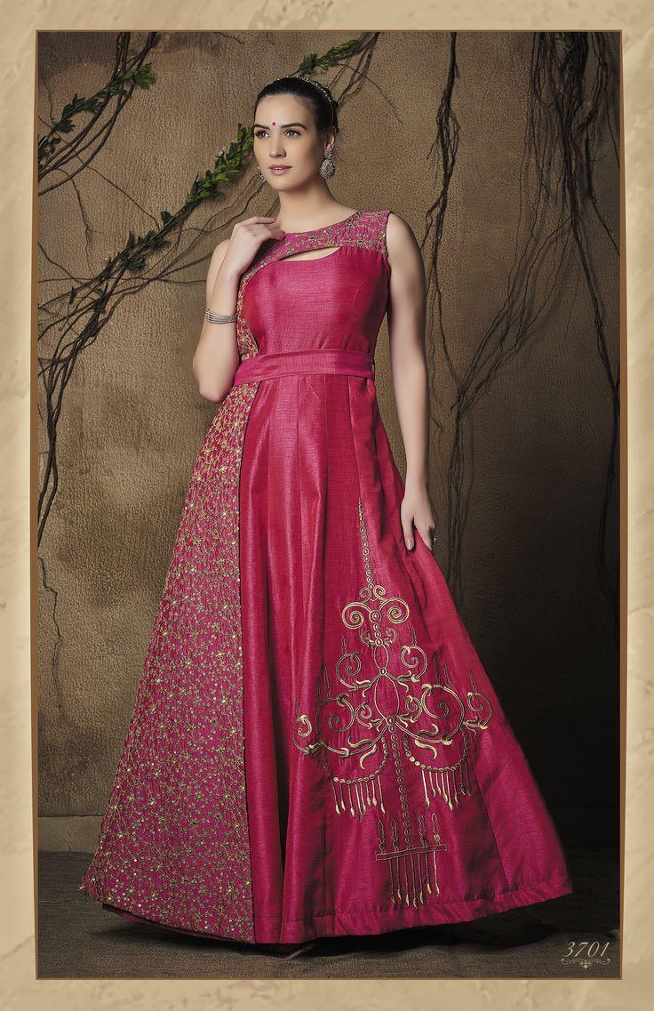 Luminous Magenta Silk Embroidered Indo-Western Anarkali Gown