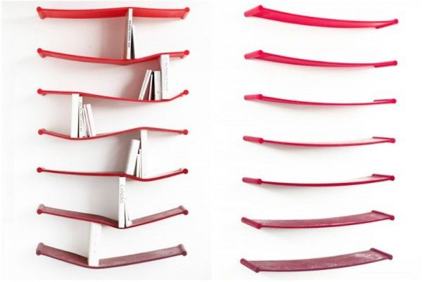 Creative bookshelves modern modular fascinating light red