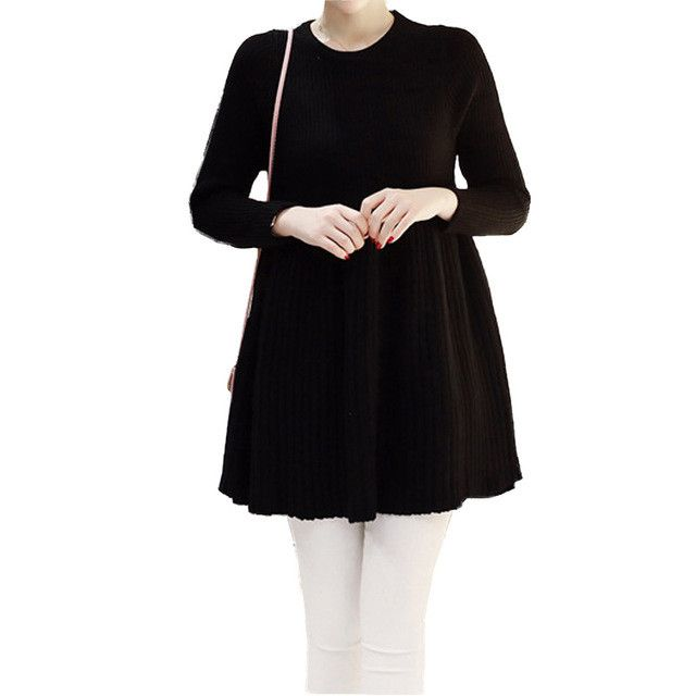 Mid-length Knitted Sweater Autumn Dress for Women A-Line Long Sleeve Knitted Pleated Maternity Dress Loose Empire Waist Dresses