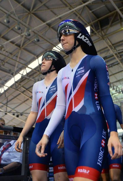 Elinor Barker and Emily Nelson of Great Britain walk to the track before the Women's Team Pursuit during the TISSOT UCI Track Cycling World Cup at...