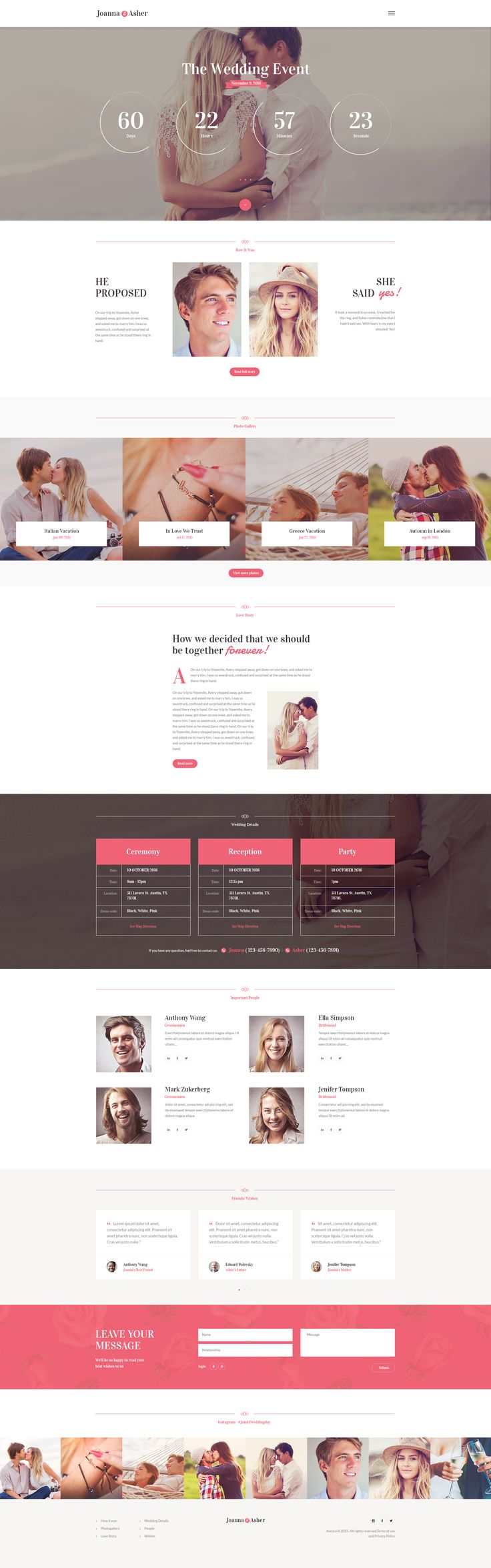 Wedding Event is an elegant 100% responsive WordPress Theme with a fashionable clean look. It is designed for any Wedding or Engagement event and helps you to give all the information to wedding guests or make an Invitation for your marriage party.