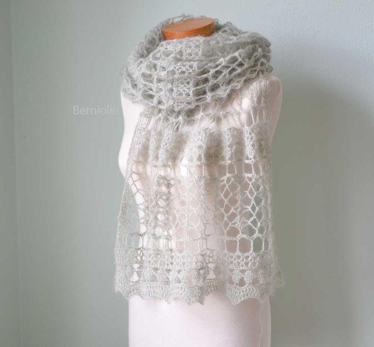 SAGE, Crochet shawl pattern, PDF. $5.99, via Etsy. Seems like it is done in fine Mohair yarn