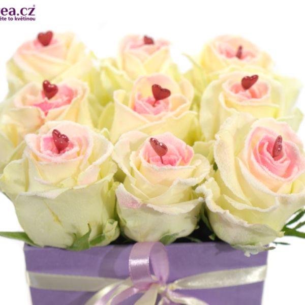 Krabička růží fialová FELIPO 12x12x11cm