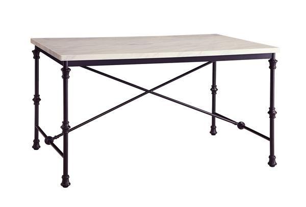 Nagel Elegant Dark Rustic Faux Marble Top Metal Dining Table