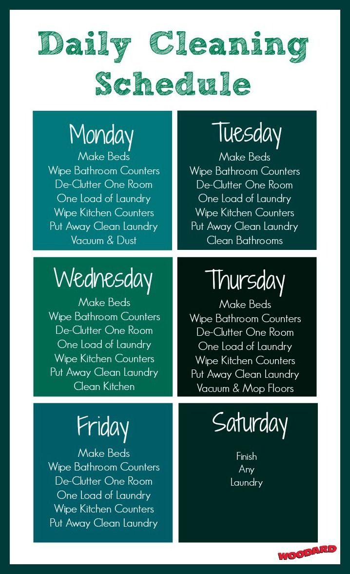 Free daily cleaning schedule plus tons of cleaning tips and tutorials