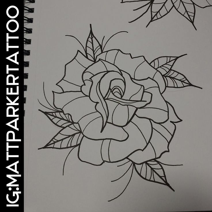 Neo traditional Rose Tattoo flash by Matt Parker | Tattoo ...