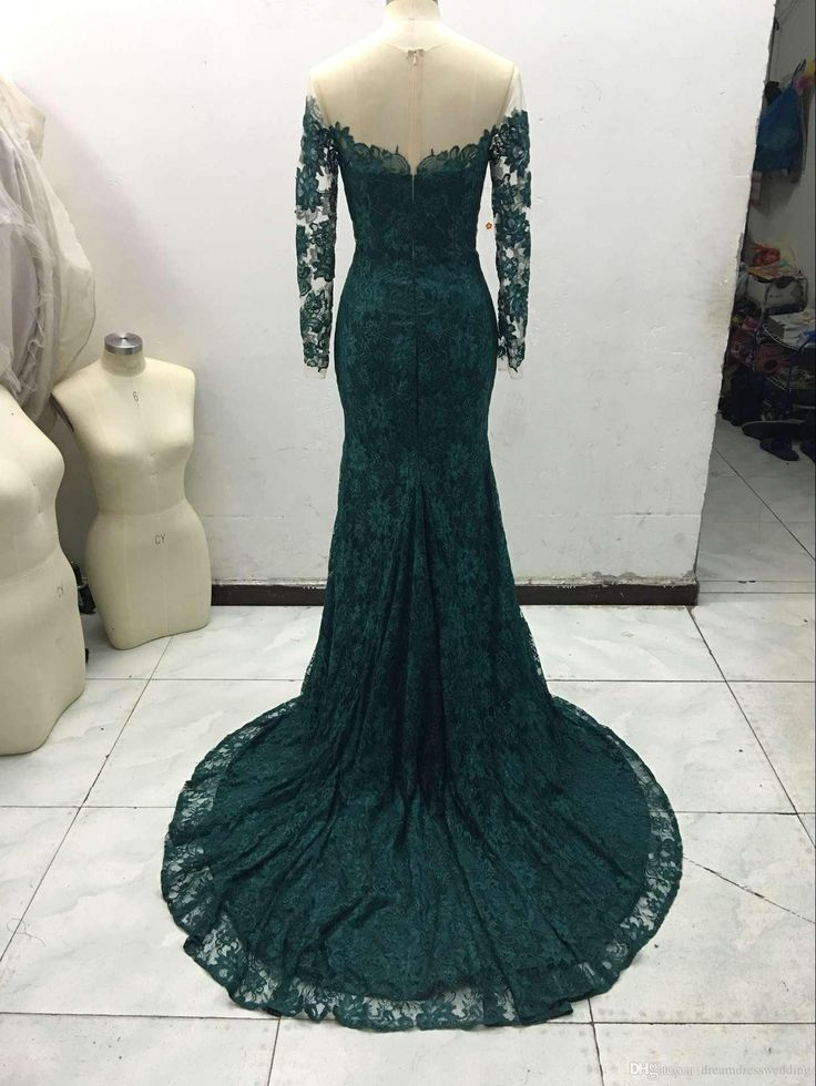 Fashion 2015 Emerald Green Mermaid Lace Evening Dresses Custom Made Plus Size Long Sleeves Women Prom Dress Maxi Formal Wear Cheap