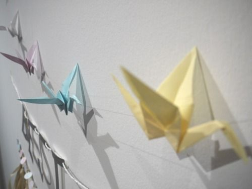 Close-up detail on origami cranes, part of a feature wedding wall display Luxury handmade wedding decorations by Paper Street Dolls Check out our store - paperstreetdolls.etsy.com