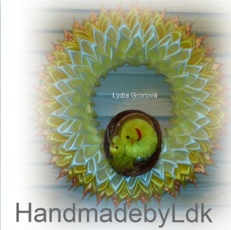 Veľkonočný veniec, robený technikou kanzashi, autorský originál z mojej dielničky HandmadebyLdk