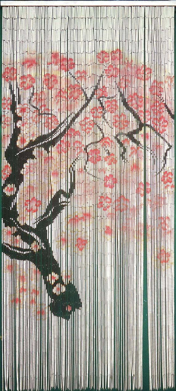 Cherry Blossom Bamboo Curtain 125 strands by Instylebamboo on Etsy