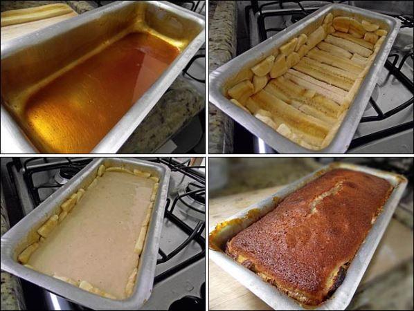 Ingredientes da massa 7 bananas nanica ou prata 1 colher (sopa) de fermento químico 2 xícaras (chá) de farinha de trigo 3 ovos ½ xícara (chá) de óleo 1 xícara (chá) de leite integral 2 xícaras (chá) de açúcar refinado Cobertura para o bolo de banana ½ xícara (chá) de água quente ¾ xícara (chá) de açúcar