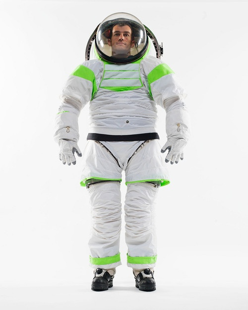NASA's new Buzz-Lightyear-inspired spacesuit. Complement with the fascinating design history of the first Apollo spacesuit.