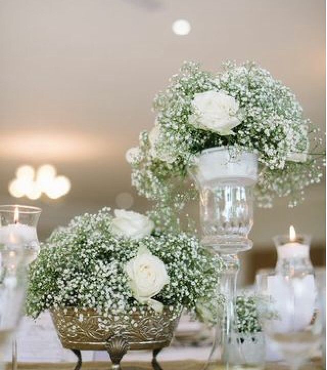 Baby's breath and floating candles