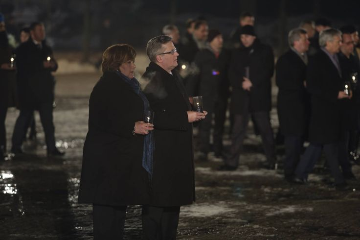 70th anniversary of the liberation of Auschwitz.. President of Poland Bronisław Komorowski and his wife place candles at the monument in Birkenau.