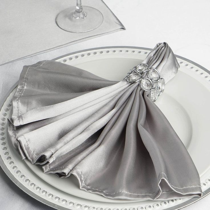 """5 Pack 20""""x 20"""" Wholesale Silver Satin Linen Napkins For Wedding Reception Banquet Tableware"""