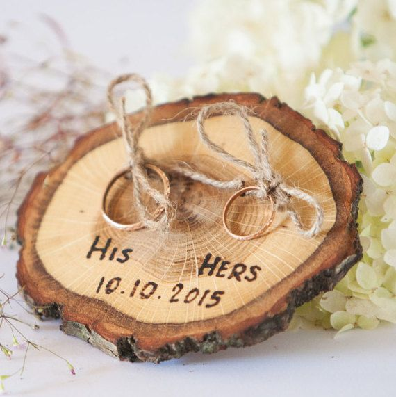 Personalized ring pillow Ring pillows are made of wooden slice with 4 holes for 2 rings. I also added jute rope through these four holes of