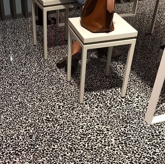 Black & White Terrazzo-effect tiles. Big tile trend for 2018.