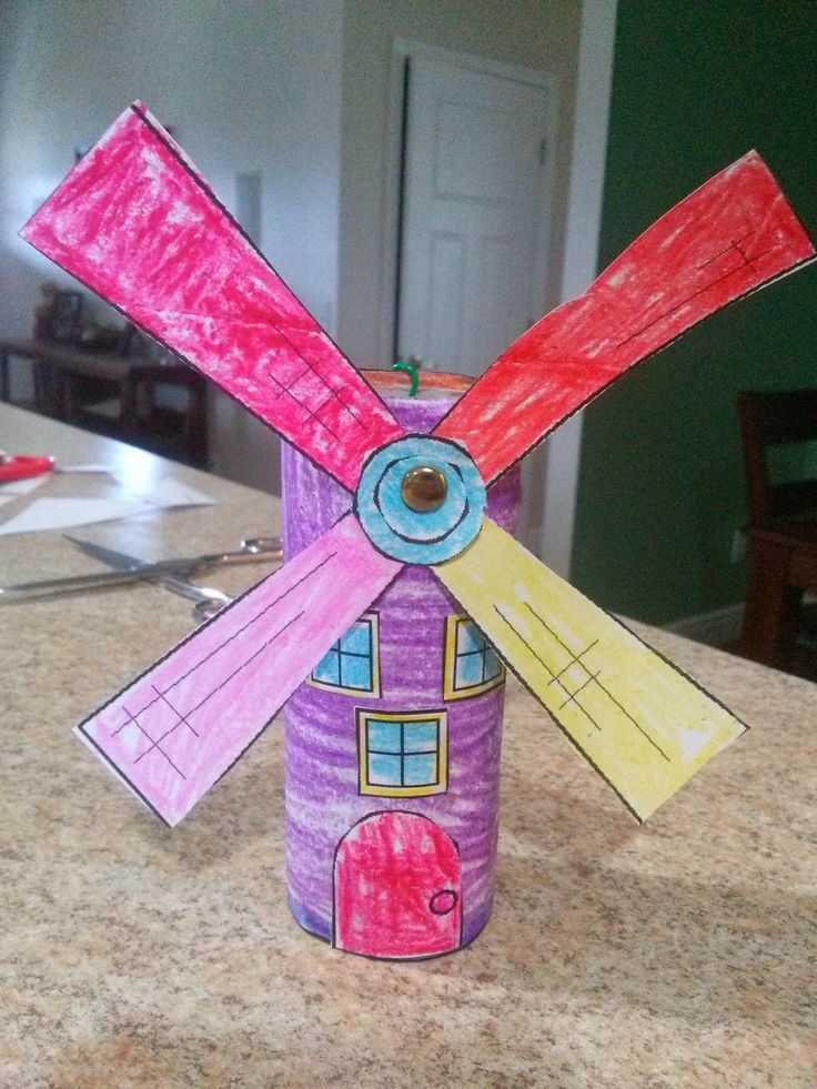 Windmill craft dutch craft toilet paper roll windmill for Paper roll arts and crafts