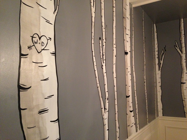 Birch trees hand painted on my dining room wall ...