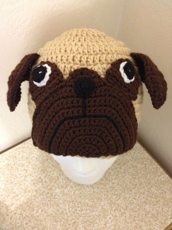 Custom Made Pug Crocheted Hat --You Pick Size- Cute As A Button Little Boutiq...