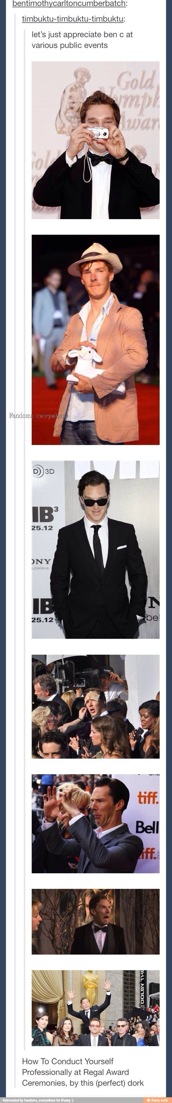 Someone invite this man to more public events. Benedict Cumberbatch!!! :) Winlock till the end!