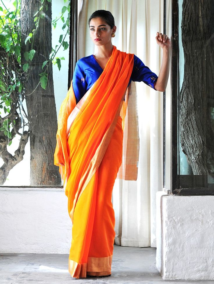 Orange Cotton Silk Zari Handloom Saree