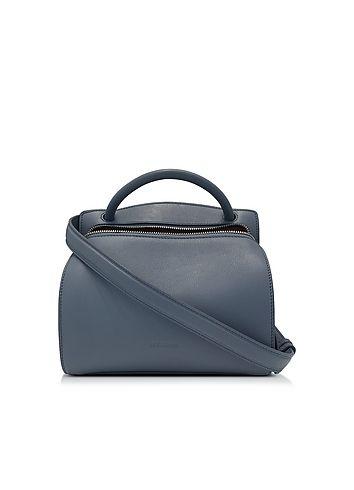 Jil+Sander+Blunt+Open+Blue+Leather+Small+Bag