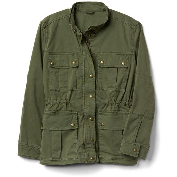 Garment-dye utility jacket ($98) ❤ liked on Polyvore featuring outerwear, jackets, green jacket, green utility jacket and utility jacket