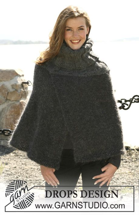"""DROPS Poncho with high neck and cables in """"Vienna"""" and """"Eskimo"""". Size: S/M to XXXL ~ DROPS Design - free"""