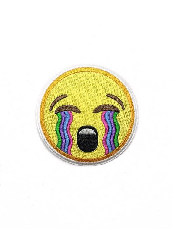 Crying Smile Face Embroidered Patch Iron On DIY Emoji Clothing