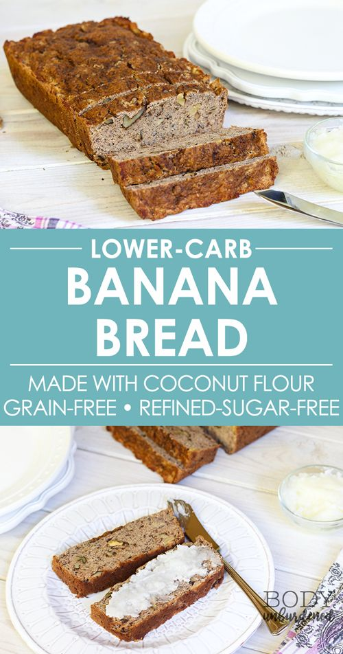 This lower-carb banana bread is great for those looking for a healthy, gluten-free, grain-free, paleo, low-sugar, low-carb bread recipe. Plus it's SO simple to make and delicious! via @bodyunburdened