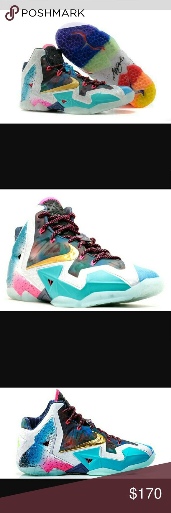 Nike lebron 11 colorways Very colorful not the right size has been worn once but then cleaned look brand new Nike Shoes Athletic Shoes